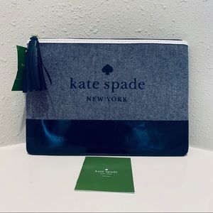 Kate Spade Large Tassel Clutch Pouch Navy/NWT